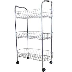 Kitchen Trolley Cart 3 Shelf Boards Metal 50 x 27 x 57 cm: Amazon ...   {Küchenwagen metall 16}