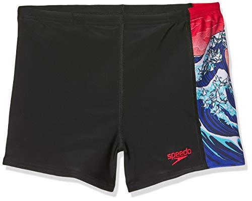 Speedo Origiwave Allover Panel Pantalón de Baño Aquashort, Niños, origmi wve blk/Nvy/lva re, 24 (5-6 años)