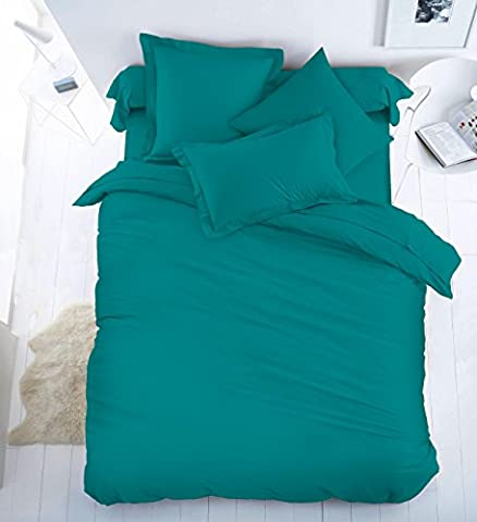 Sunshine Comforts ® 100% Egyptian Cotton Range Teal Jade Cotton Rich Duvet Cover & Oxford Pillowcases Set - Single Bed Size
