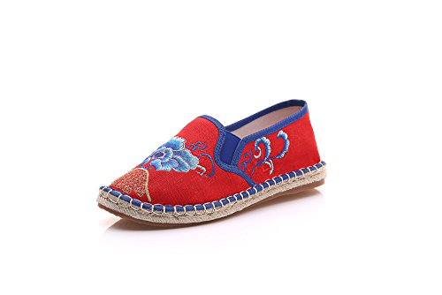 Kafei Chaussures Pour Femmes De Chaussures De Loisirs En Lin Dégradé Et Lin Avec Tête Ronde Fond En Caoutchouc Rouge