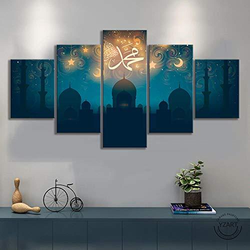 VENDISART,Leinwanddrucke,Modulare Wandkunst Wandaufkleber,5 Teiliges Wandbild,Moschee Koran Muslimisches Bild,Mit Rahmen,Größe:M/B=150Cm,H=80Cm