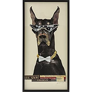 KARE 38455Picture Frame Art Cool Dog 121X61CM Accessories, Black, White, Yellow, 3.8x 61x 121cm