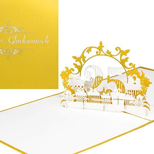 """Pop Up Karte\""""25\"""" in edlem Gold - zum 25. Geburtstag & zur Silberhochzeit - 3D Geburtstagskarte & Glückwunschkarte - als Geschenkgutschein & Geschenkverpackung zu Jubiläum und Silberne Hochzeit"""