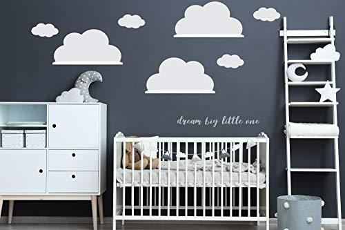 Wandtattoo Wolkenaufkleber 3x Große Wolke passend für IKEA RiBBA MOSSLANDA LACK Wandregal Wanddeko (3x 23cm(H) x45cm(B) Weiss)