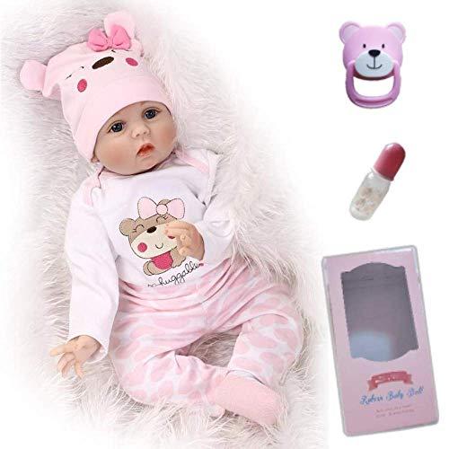 ZIYIUI Reborn Baby-Puppe 22Zoll 55cm Realistisch Baby Puppe lebensecht Weiches Vinylsilikon Reborn Baby Mädchen Handgemacht Neugeborene Echte Babypuppe