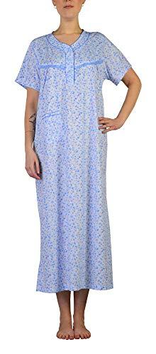i-Smalls Damen Nachtwäsche Blumendruck Kurzarm Nachthemden Tasche Lange Plus Größen mit Lila Augenmaske (L) Blue Rose -