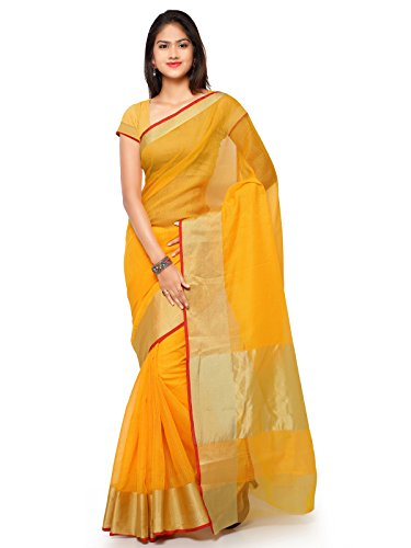 KANCHNAR Cotton Saree With Blouse Piece(228S327_Golden And Yellow Free Size)