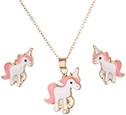 El Regalo's Unicorn Jewelry Set for Girls | Animal Unicorn Earrings & Necklace/Girls Children Kids Jewelry