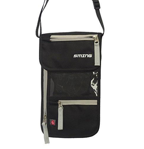 SMING Travel Neck Pouch-Pass-Halter mit RFID-Schutz + 5 zusätzliche Kartenhüllen black