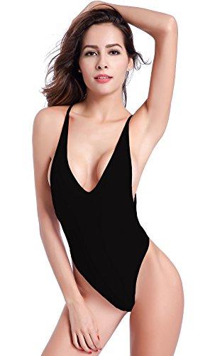 SHEKINI Damen Einteiliger Badeanzug Push up String Tanga Bikini Schwimmanzug Monokini (Large,Schwarz)