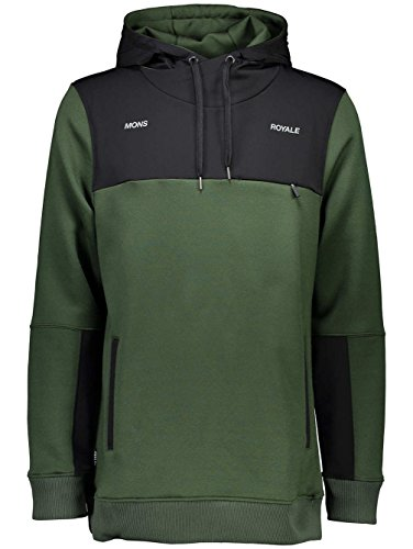 Mons Royale Herren Transition Hoody Mid Layer, Forest Green/Black, XL