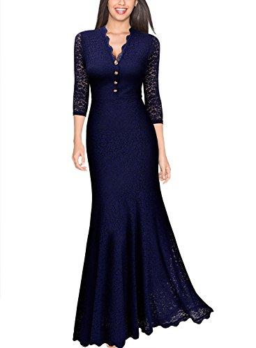 Miusol Elegante Damen 3/4 Arm V-Ausschnitt Spitzen Brautkleid Festliches Kn?pfe Cocktailkleid Langes Abendkleid Navy Blau Gr.S - 2
