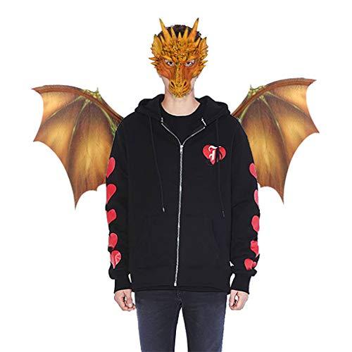 Mit Kinder Verheiratet Kostüm - QinMM W Halloween Cosplay Dinosaurio Scary Maske + Flügel Zubehör Kostüm für Erwachsene Party Dekoration Requisiten Creepy Fantasy Cosplay Tier (Maske+Tierflügel, Gelb)