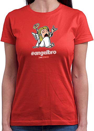 HARIZ  Damen T-Shirt Rundhals Pixbros Angelbro Xmas Weihnachten Cool Familie Liebe Plus Geschenkkarte Rot S