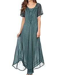 Sakkas Egan Long Embroidered Caftan Dress/Cover Up With Embroidered Cap Sleeves