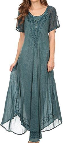 Gesticktes Langes Kleid (Sakkas 16603 - Egan Lange gestickte Kaftan Kleid/Abdeckung mit gestickten Kappen Ärmeln - Denim Blue - OS)
