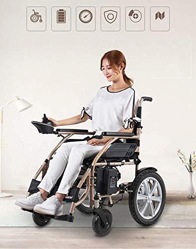 Lunzi Carrozzina motorizzata - Carrozzina elettronica portatile con la migliore valutazione, leggera, pieghevole, resistente - Disabile sedia a rotelle per anz
