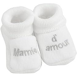 Kinousses - par de patucos para bebé blanco blanco Talla:0-1 meses