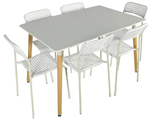 FABERGE Contemporary 1+ 6 Seater Dining Room Sets (White(1+6))