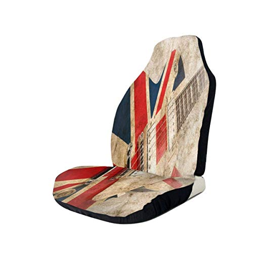 coprisedile per auto Vintage Guitar British Flag Bucket Seat Protector Universal Flexible Front Seats Cover Easy Put On And Off Front Seats Cover With Elastic Band Storage Bag For RVs Mini Vehicles