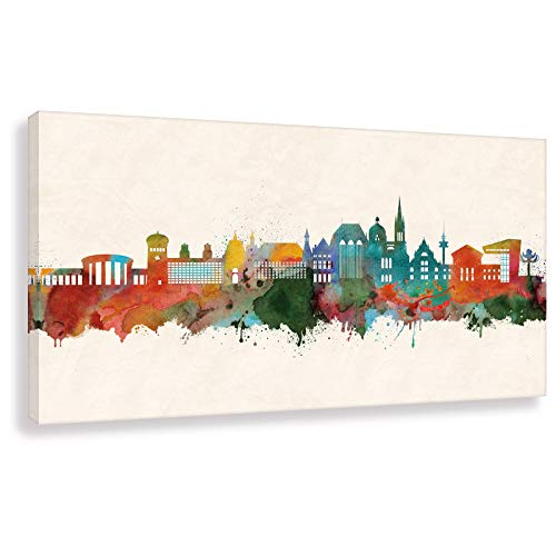 Kunst Druck auf Leinwand - Skyline Aachen (div. Größen) Bild fertig auf Keilrahmen ! Graffiti Like Banksy Art Gemälde Kunstdrucke, Wandbilder Stree (40x80cm)