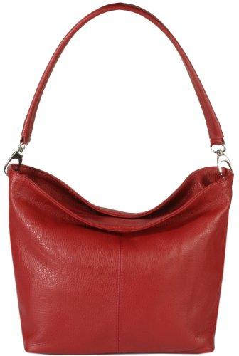 """Emmy accessoires """"Kerry"""" Schultertasche aus weichem Echt-Leder Made in Italy, Rot"""