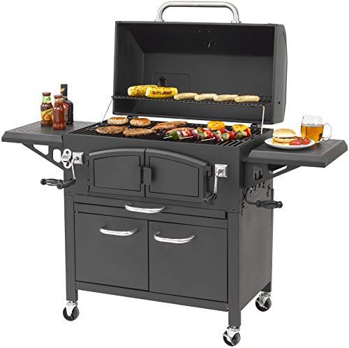 Holzkohlegrill Grand Ontario von EL Fuego® Grill Smoker BBQ Grillwagen Barbecue, mit Thermometer, inkl. Flaschenöffner, mit Warmhalterost und Ascheauffang, AY 572 - 9