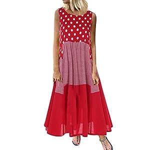 Damen Kleider Maxikleid Lose Kleid Ärmellose Retro Baumwolle Lange Strandkleid Elegante Breite Beiläufige Sommerkleider Boho Langkleid Freizeitkleid