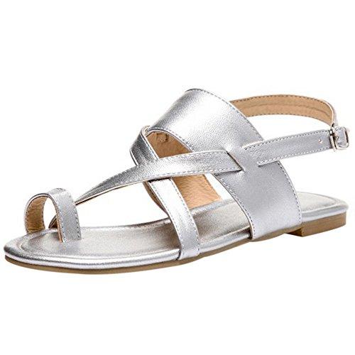 53c7439a5111eb COOLCEPT Damen Mode Slip On Sandalen Flach Niedrig Absatz Singback Schuhe  Gr Silber