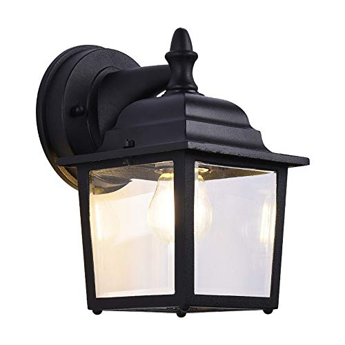 Zzbyy Außenwandleuchte, Schwarz mit klarem Wasserglas, Außenwandleuchten für Innenhof (Wassergläser Esstisch)