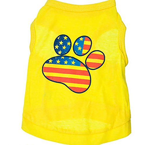 Kostüm Hot Dog Für Chihuahua - Hmeng Hot Dog Weste Gelbe Abdrücke Flagge Haustier Kleidung Kleidung Weste Kostüme Sommer (M, Gelb)