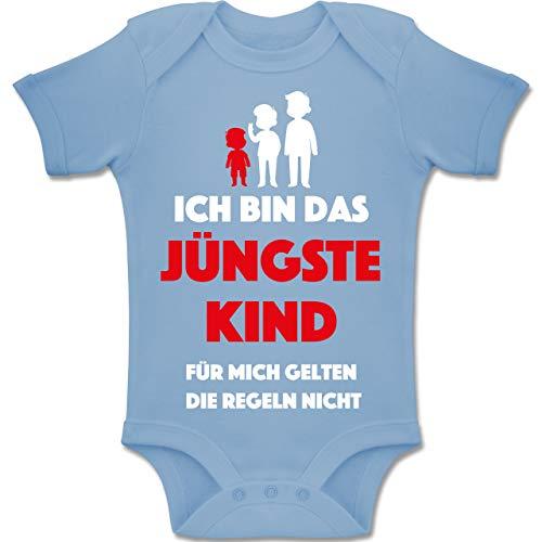 Shirtracer Sprüche Baby - Ich Bin das jüngste Kind. Für Mich gelten die Regeln Nicht - 12-18 Monate - Babyblau - BZ10 - Baby Body Kurzarm Jungen Mädchen - Jüngstes Kind