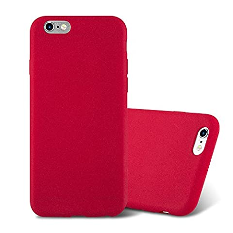 Cadorabo - Ultra Slim TPU Frosted Mate Coque Gel (silicone) pour Apple iPhone 6 / 6S - Housse Case Cover Bumper en FROST-ROUGE