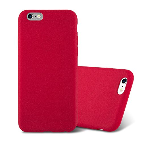 Apple iPhone 6 / iPhone 6S Silikonhülle in FROST ROT von Cadorabo - Frosted ( Maximum Grip ) Matte Ultra Dünn Slim Design TPU Schutzhülle – Handyhülle Bumper Back Case Cover