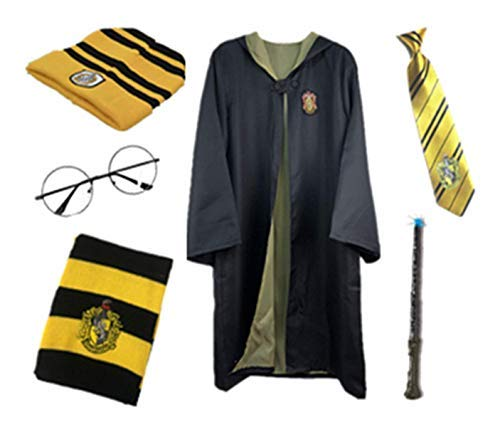 Fanessy. Kinder Erwachsene Umhang Kostüm Für Harry Potter,Fancy Dress Cosplay Outfit Set Zauberstab Krawatte Schal Brille Hut Hemd Rock Karneval Verkleidung Fasching Halloween (Hufflepuff Mädchen Kostüm)