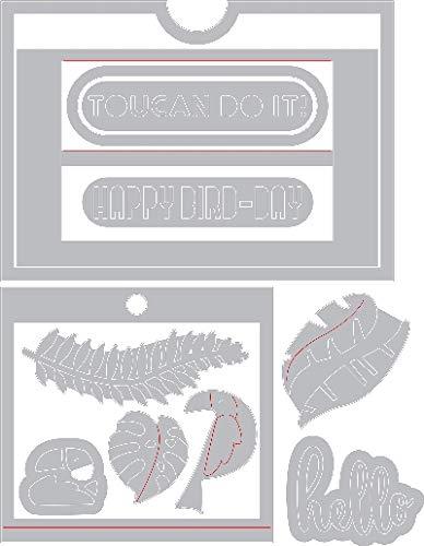 Sizzix Framelits 662783 Tropicool Slider Card von Lynda Kanase, 12 Stück Slider Card