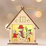 Christmas Decoration -TAOtTAO LED-Licht Holzpuppen Haus Villa Weihnachtsschmuck Weihnachtsbaum hängende Dekor (E)
