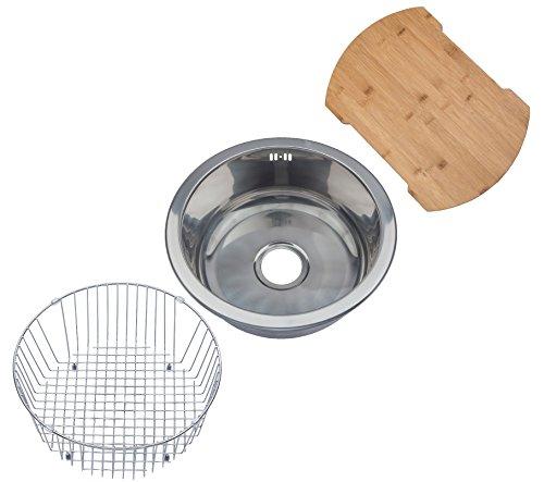 Küchenspüle Rundes Einbauspülbecken aus Edelstahl. Draht Korb Schüssel Einsatz und Bambus Schneidebrett inbegriffen. (M07 mr + cb + wb) (Draht-schüssel Runde)