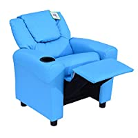 Homcom Kids Children Recliner Lounger Armchair Games Chair Sofa Seat PU Leather Look w/ Cup Holder (Blue)