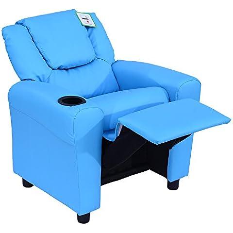 Homcom–Sillón reclinable y tumbona niños juegos sillón silla sofá asiento sintética piel sintética w/Cup Holder, piel sintética, azul, W62*D56*H69cm/ W62*D94*H59cm when reclined