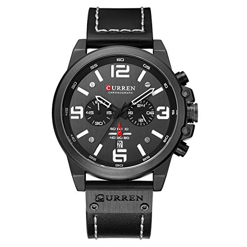 TEZER Quartz Uhren Herren, Casual Chronograph Quartzuhr, Multifunktionale Militär Sport Wristwatch, Wasserdicht Lederarmband mit Datumsanzeige 8314...