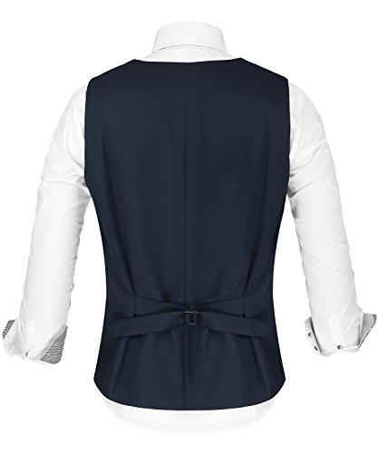 Hasuit formale da uomo regular fit Business abito senza maniche tuta gilet con bottoni Navy Blue#1