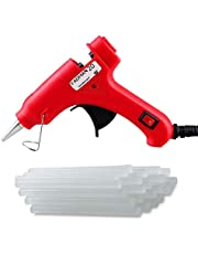 Fadman Mini Plastic 20 Watt Hot Melt Glue Gun with 15 Adhesive Transparent Sticks (Red)