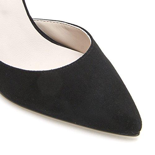 ALESYA by Scarpe&Scarpe - Sandales hautes bout pointue avec bride à la cheville, en Cuir, à Talons 11 cm Noir