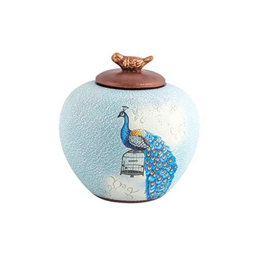 QIQIDEDIAN Vase Schmuck Keramik Pfau Vorratsglas Kreative Handwerk Fernsehschrank Wein Kabinett Display (Color : Ceramic-Blue, Size : 22.5cm*22.5cm) -