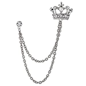 Aienid 17×3.5 cm Edelstahl Brosche zum Damen Krone Silber