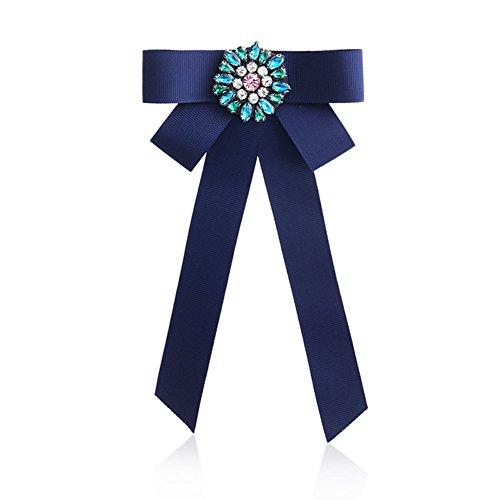 Nowbetter Damen Schleife Brosche Anstecknadel Satin Schleife Hals Krawatte Brosche Inlay Bunte Strass Hochzeit Party Fliege Boutonniere, blau, 20 * 10.5cm