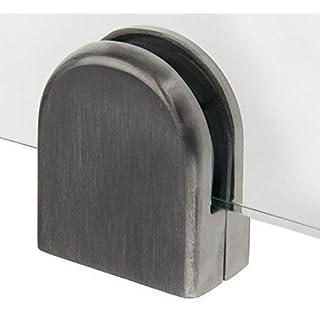 Glashalter /-klemme 8,5-13,5 Edelstahl V2A 52x44x24,5 vorne halbrund/Abschluss flach