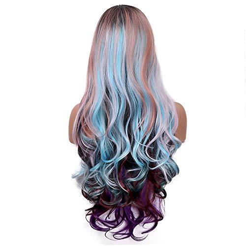 Moda Ombre Cosplay peluca rizada para las mujeres Mixed MultiColor sintético largo ondulado peluca...