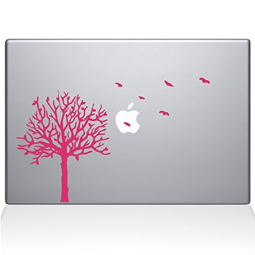Die Aufkleber Guru 2094-mac-11a-bg Baum mit Vögel Aufkleber Vinyl Aufkleber, 27,9cm MacBook Air, Pink - Baum Mac Decal